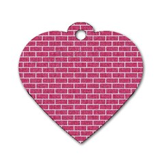 Brick1 White Marble & Pink Denim Dog Tag Heart (two Sides)