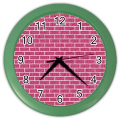 Brick1 White Marble & Pink Denim Color Wall Clocks by trendistuff