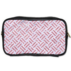 Woven2 White Marble & Pink Glitter (r) Toiletries Bags by trendistuff