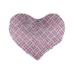 Woven2 White Marble & Pink Glitter (r) Standard 16  Premium Flano Heart Shape Cushions by trendistuff