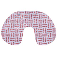 Woven1 White Marble & Pink Glitter (r) Travel Neck Pillows by trendistuff