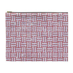 Woven1 White Marble & Pink Glitter Cosmetic Bag (xl) by trendistuff