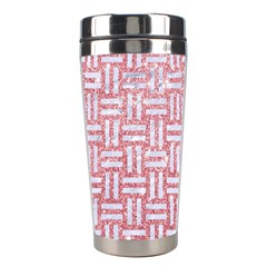 Woven1 White Marble & Pink Glitter Stainless Steel Travel Tumblers by trendistuff