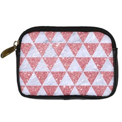 Triangle3 White Marble & Pink Glitter Digital Camera Cases by trendistuff