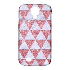 Triangle3 White Marble & Pink Glitter Samsung Galaxy S4 Classic Hardshell Case (pc+silicone) by trendistuff