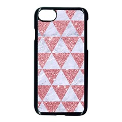 Triangle3 White Marble & Pink Glitter Apple Iphone 8 Seamless Case (black)