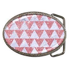 Triangle2 White Marble & Pink Glitter Belt Buckles by trendistuff