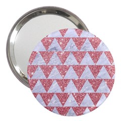 Triangle2 White Marble & Pink Glitter 3  Handbag Mirrors by trendistuff
