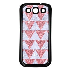 Triangle2 White Marble & Pink Glitter Samsung Galaxy S3 Back Case (black) by trendistuff