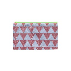 Triangle2 White Marble & Pink Glitter Cosmetic Bag (xs) by trendistuff