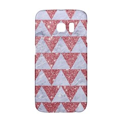Triangle2 White Marble & Pink Glitter Galaxy S6 Edge by trendistuff