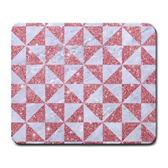 Triangle1 White Marble & Pink Glitter Large Mousepads by trendistuff
