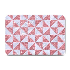 Triangle1 White Marble & Pink Glitter Small Doormat  by trendistuff