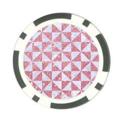 Triangle1 White Marble & Pink Glitter Poker Chip Card Guard by trendistuff
