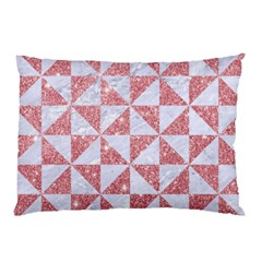 Triangle1 White Marble & Pink Glitter Pillow Case by trendistuff