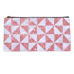 Triangle1 White Marble & Pink Glitter Pencil Cases