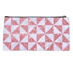 TRIANGLE1 WHITE MARBLE & PINK GLITTER Pencil Cases Back