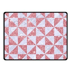Triangle1 White Marble & Pink Glitter Fleece Blanket (small) by trendistuff
