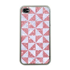 Triangle1 White Marble & Pink Glitter Apple Iphone 4 Case (clear) by trendistuff