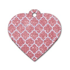Tile1 White Marble & Pink Glitter Dog Tag Heart (one Side) by trendistuff