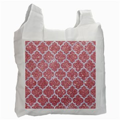Tile1 White Marble & Pink Glitter Recycle Bag (two Side)  by trendistuff