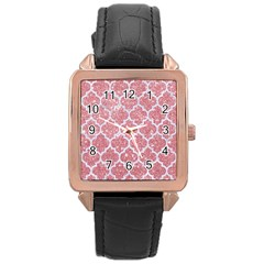 Tile1 White Marble & Pink Glitter Rose Gold Leather Watch