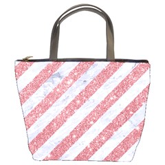Stripes3 White Marble & Pink Glitter (r) Bucket Bags by trendistuff
