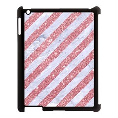 Stripes3 White Marble & Pink Glitter (r) Apple Ipad 3/4 Case (black) by trendistuff