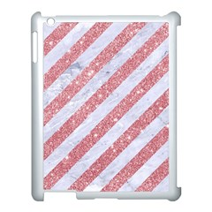 Stripes3 White Marble & Pink Glitter (r) Apple Ipad 3/4 Case (white) by trendistuff