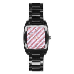 Stripes3 White Marble & Pink Glitter (r) Stainless Steel Barrel Watch by trendistuff