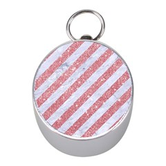 Stripes3 White Marble & Pink Glitter (r) Mini Silver Compasses