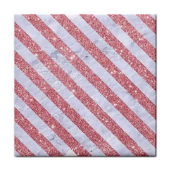 Stripes3 White Marble & Pink Glitter Tile Coasters by trendistuff