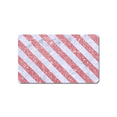 Stripes3 White Marble & Pink Glitter Magnet (name Card) by trendistuff
