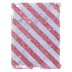 Stripes3 White Marble & Pink Glitter Apple Ipad 3/4 Hardshell Case (compatible With Smart Cover) by trendistuff
