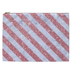 Stripes3 White Marble & Pink Glitter Cosmetic Bag (xxl)  by trendistuff