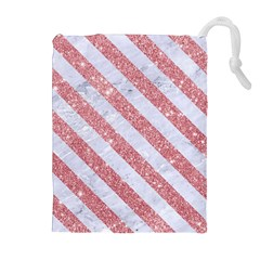 Stripes3 White Marble & Pink Glitter Drawstring Pouches (extra Large)