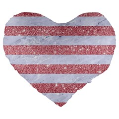 Stripes2white Marble & Pink Glitter Large 19  Premium Flano Heart Shape Cushions