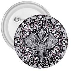 Ornate Hindu Elephant  3  Buttons by Valentinaart