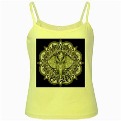 Ornate Hindu Elephant  Yellow Spaghetti Tank