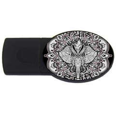 Ornate Hindu Elephant  Usb Flash Drive Oval (4 Gb) by Valentinaart