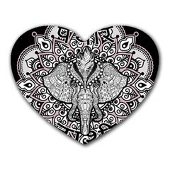 Ornate Hindu Elephant  Heart Mousepads by Valentinaart