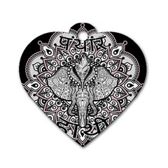Ornate Hindu Elephant  Dog Tag Heart (one Side) by Valentinaart