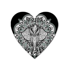 Ornate Hindu Elephant  Heart Magnet by Valentinaart