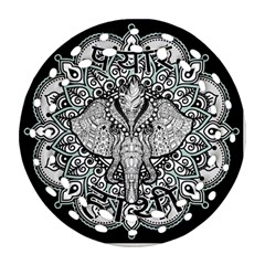 Ornate Hindu Elephant  Ornament (round Filigree) by Valentinaart