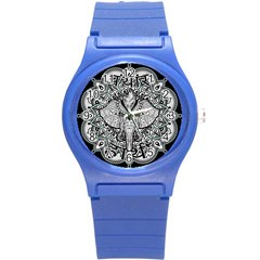 Ornate Hindu Elephant  Round Plastic Sport Watch (s)