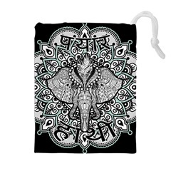 Ornate Hindu Elephant  Drawstring Pouches (extra Large)