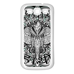Ornate Hindu Elephant  Samsung Galaxy S3 Back Case (white) by Valentinaart