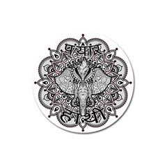 Ornate Hindu Elephant  Magnet 3  (round) by Valentinaart