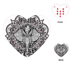 Ornate Hindu Elephant  Playing Cards (heart)  by Valentinaart