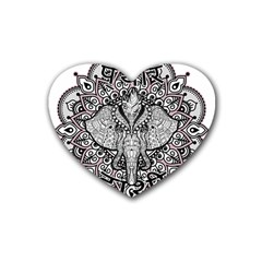 Ornate Hindu Elephant  Rubber Coaster (heart)  by Valentinaart
